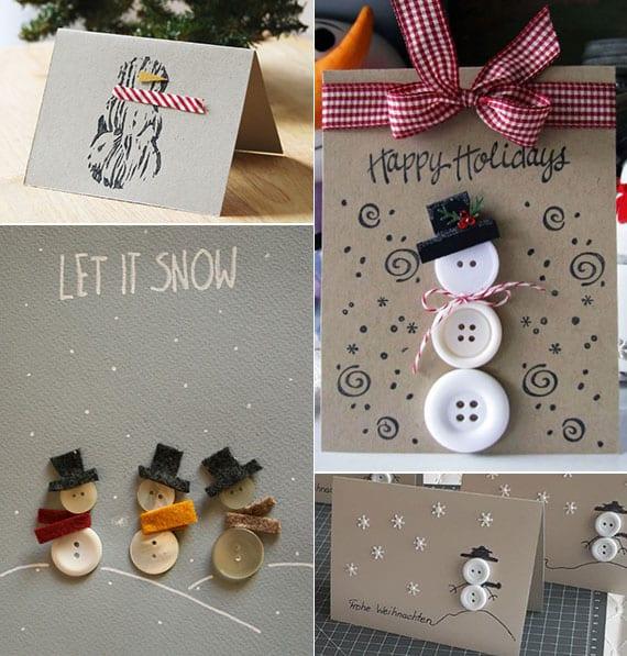 edle weihnachtskarten basteln und gestalten mit schneemann aus knöpfen