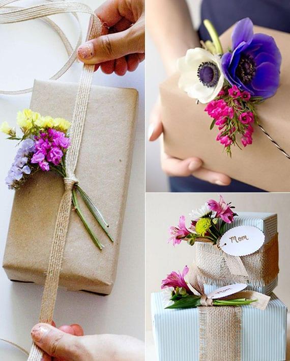 ausgefallene geschenkverpackung ideen mit frischen blumen in lila, gelb, rosa und weiß