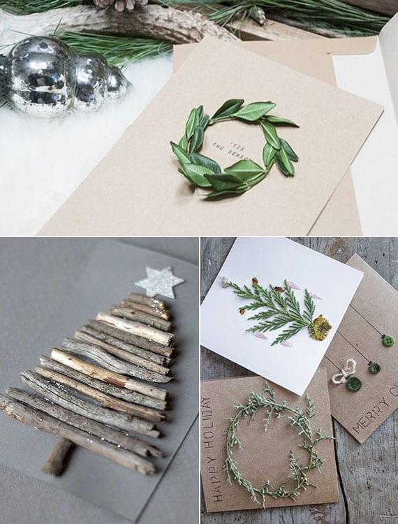 originelle Natur-Weinachtskarten basteln mit holz und grünen zweigen_die weihnachtskarte mit mini-kranz und christbaum aus naturmaterialien gestalten