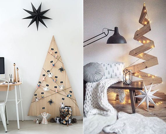 kreative bastelideen mit holz für diy christbaum als platzsparende und moderne weihnachtsdekoration