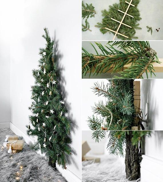 natürliche weihnachtsdeko basteln mit nadelzweigen_kreative raumdekoration zu weihnachten mit diy christbaum für wand
