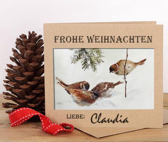 originelle weihnachtskarten download_rustikale Weihnachtskarte Vorlage mit Aquarell-Wintervögeln kostenlos ausdrücken