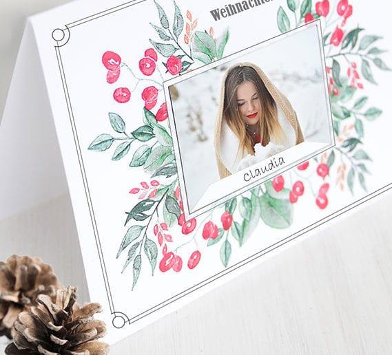 Vorlage Aquarell-Weihnachtskarten kostenlos ausdrücken und origineelle weihnachtskarten mit fotos basteln