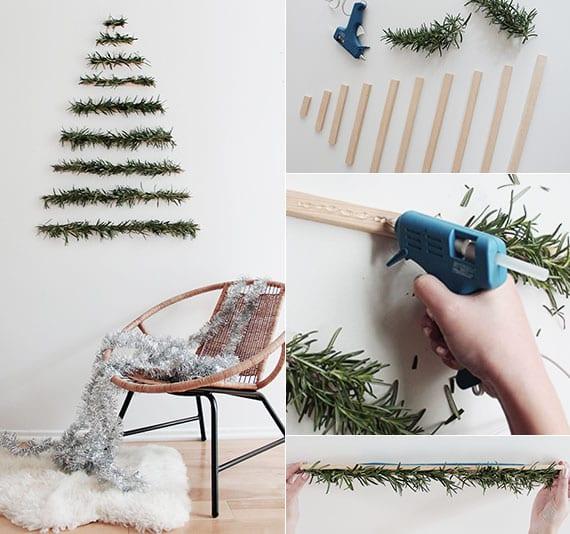 coole weihnachtsdeko basteln für wand mit holzlatten und frischen nadelzweigen