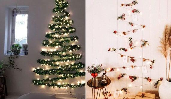 coole weihnachtsdeko mit girlanden und lichterkette als. Black Bedroom Furniture Sets. Home Design Ideas