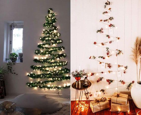 attraktive dekoideen für weihnachten mit einem DIY Weihnachtsbaum aus girlanden und lichterketten