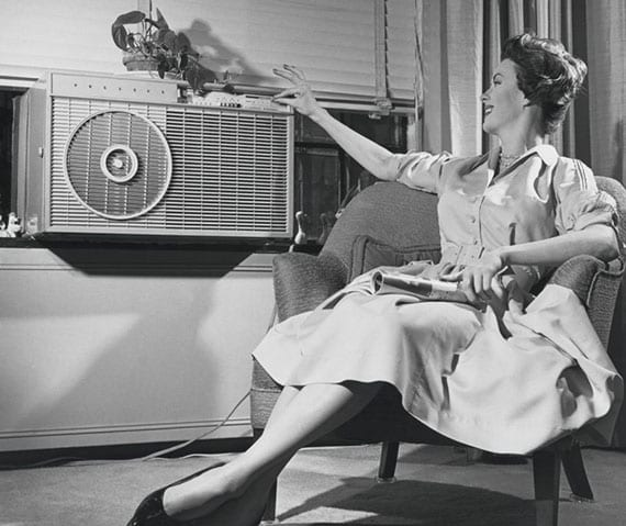 retro foto der ersten klimaanlage in amerika