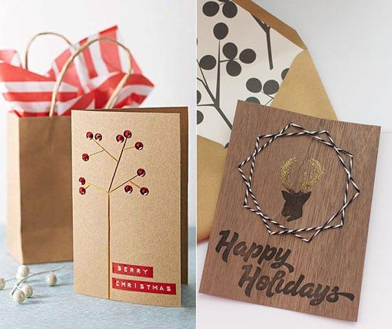 originelle weihnachtskarten basteln aus karton und besticken mit garn