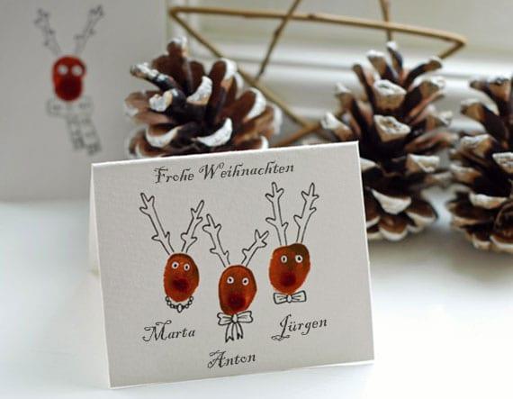 originelle rudoplh weihnachtskarten mit fingerabdrücken selber machen