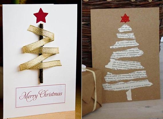 die weihnachtskarte originell gestalten mit einem weihnachtsbaum aus stoffband oder zeitungspapier