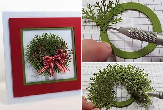 einfache weihnachtskarten basteln aus rotem und grünen karton als kleines Passepartout mit grünem weihnachtskranz aus papier