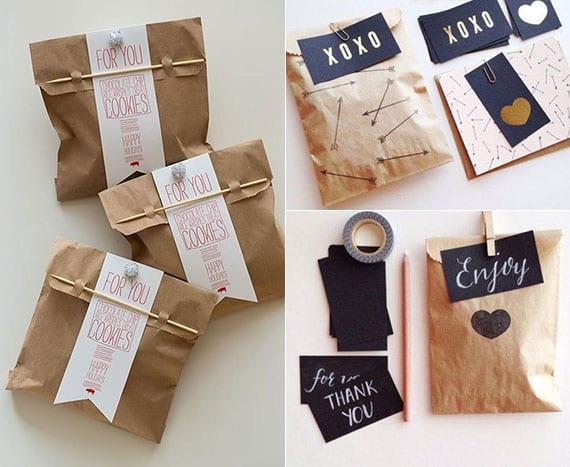 braune papiertaschen in coole geschenktaschen verwandeln
