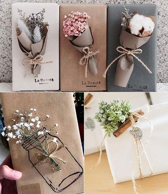coole verpackungsidee für geschenke mit kleinem blumenstrauß aus frischen oder trocken blumen