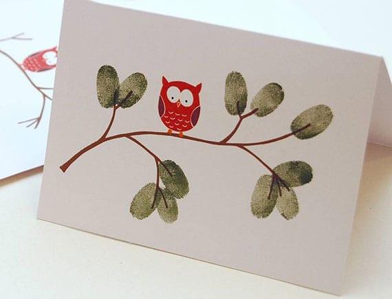 einfache weihnachtskarten basteln mit fingeabrücken