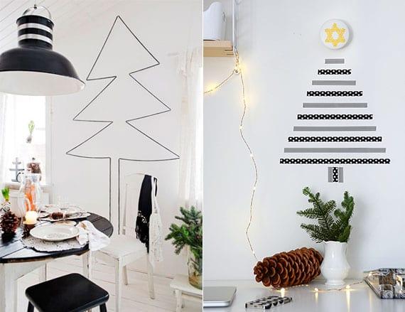moderne dekoideen zu weihnachten mit modernem weihnachtsbaum aus schwarzem klebeband als wanddeko in kleiner wohnung