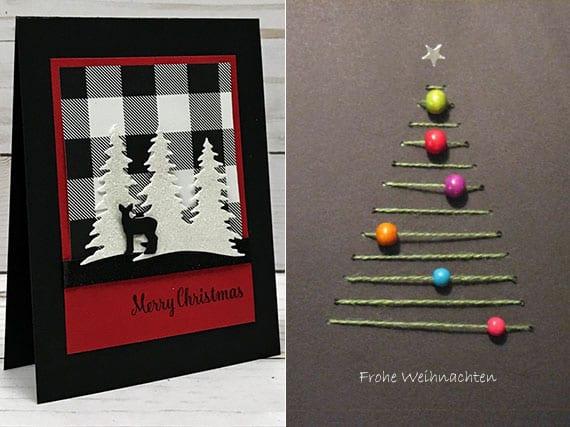 die weihnachtskarte aus schwarzem karton mit einem christbaum besticken