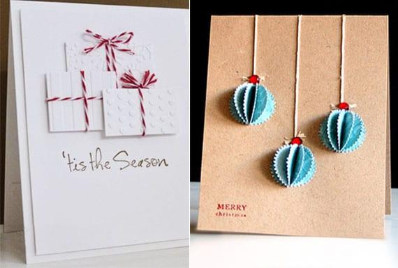 einfache weihnachtskarten basteln und mit weihnachtsgeschenke aus strukturierem papier dekorieren