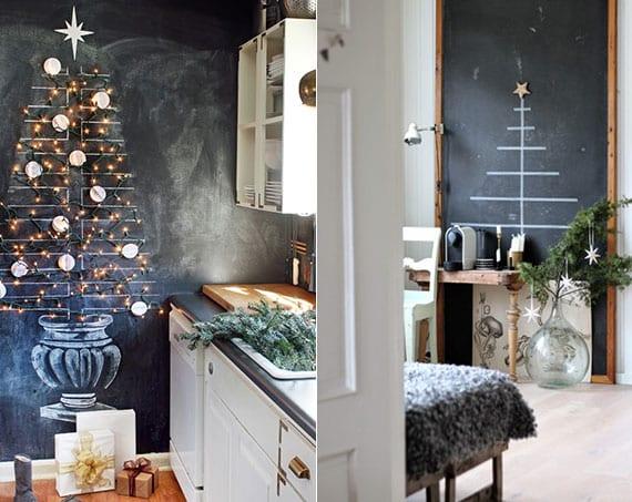 coole weihnachtsdeko ideen mit einem christbaum auf kreidetafel als rustikale wanddeko in der küche oder attraktive zimmerdeko