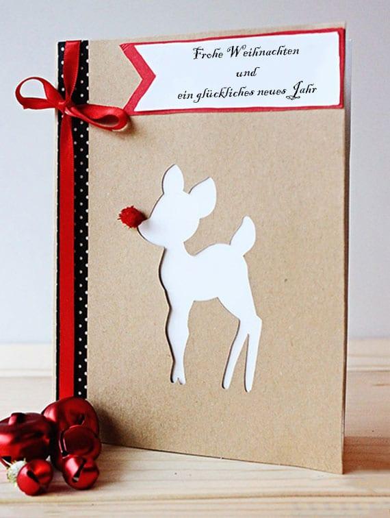 rudolph weihnachtskarte kostenlos ausdrucken und mit dekok-klebeband und rotem stoffband kreativ dekorieren