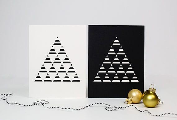edle weihnachtskarten basteln mit einfachem christbaum motiv aus dreiecken