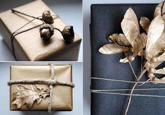 coole verpackungsideen für geschenke mit baumblättern, zweigen und eicheln in gold