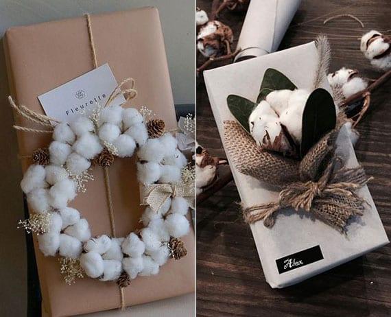 geschenke einpacken in packpapier und mit baumwollfrucht dekorieren