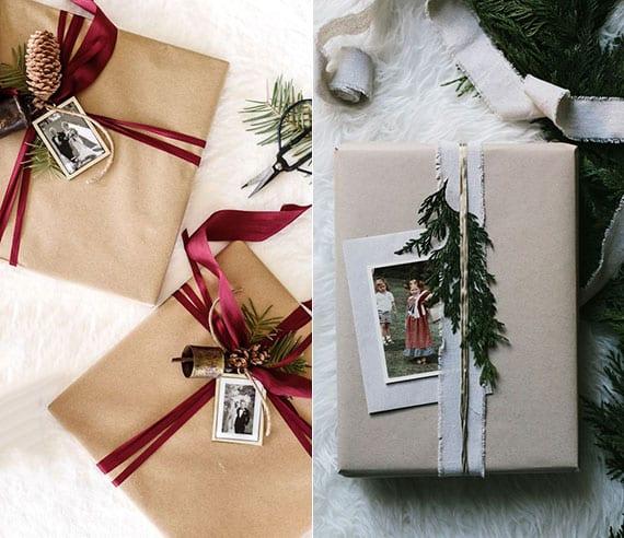 tolle verpackungsideen für weihnachtsgeschenke mit fotos, immergrünen zweigen und zapfen