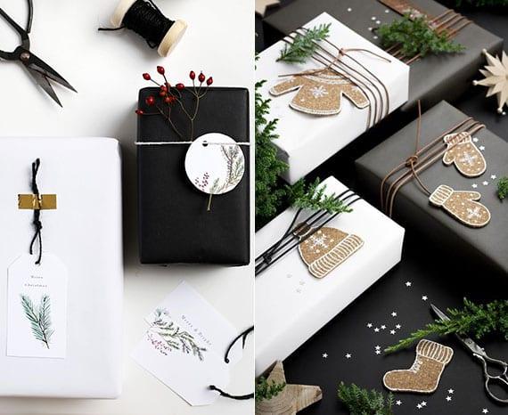 coole geschenkverpackung in schwarz und weiß mit diy etiketten aus papier und kork