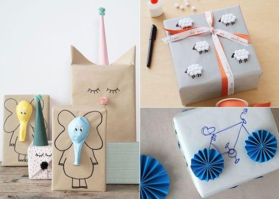 kreative geschenkverpackung für kinder selber machen mit luftballons, pompons und farbigem tonpapier