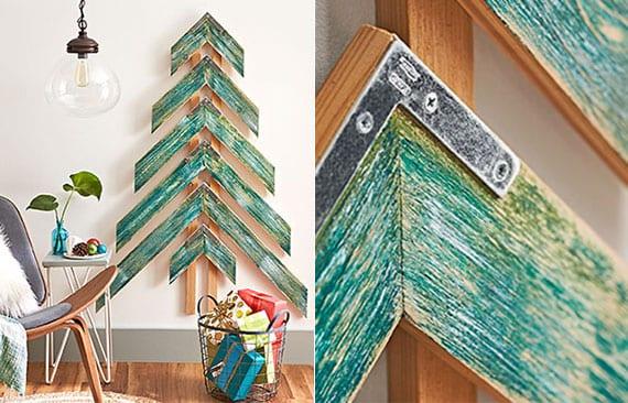kreatives basteln mit holz zu weihnachten und coole wanddekoidee mit einem diy Weihnachtsbaum aus holzbrettern