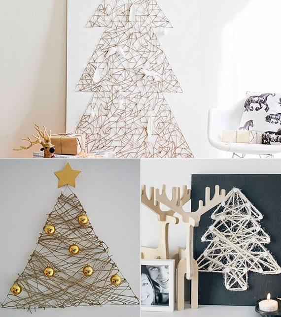weihnachtsbaum-nagelbild als coole diy weihnachtsdeko ideen für die wand