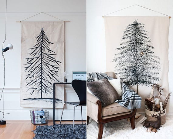 nadelbaum auf leinwand malen und als originelle wanddeko zu weihnachten aufhängen