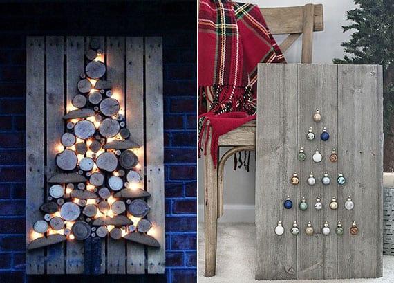 weihnachtsbaum aus holzscheiben und bunten weihnachtskugeln als coole wanddeko zu weihnachten basteln
