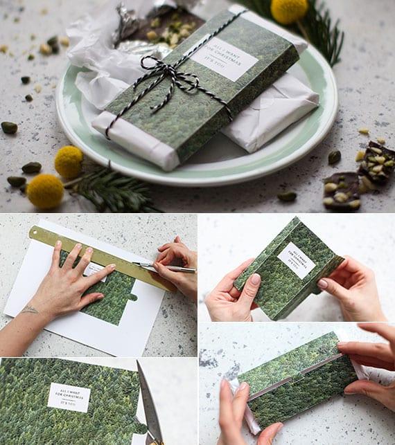 verpackungsidee für schokolade mit ausgedrucktem bild, schnur und etikett