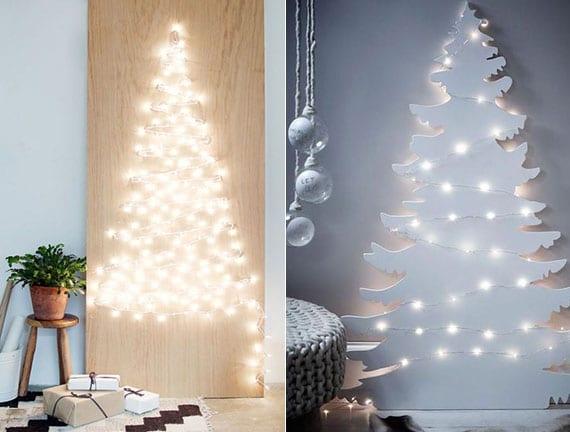 coole bastelideen und kreative dekoideen zu weihnachten mit einem selbstgemachten christbaum aus holz mit LED-lichterkette