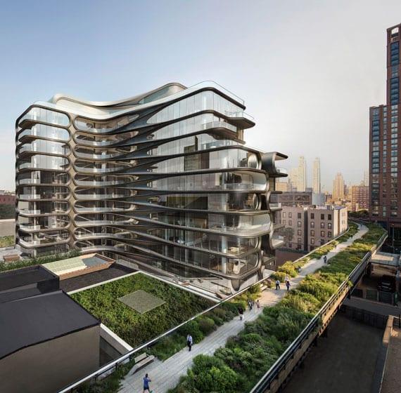 beispiel für luxus-architektur mit gerundeten formen und attraktiver fassadengestaltung aus metall und bodentiefer bandferglasung