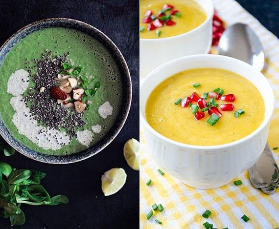 vegane rezeptideen für leckere und glutenfreie Cremesuppe aus Kürbis und roter Linse oder aus Brokkoli, Spinat und Chia