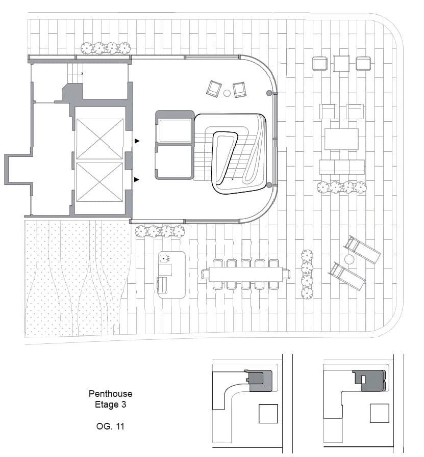 luxuriöse traumvohnung mit verglastem aufenthaltsraum, großer rooftop-terrasse mit außenküche, essbereich und unterhaltungsbereich mit liegestühlen
