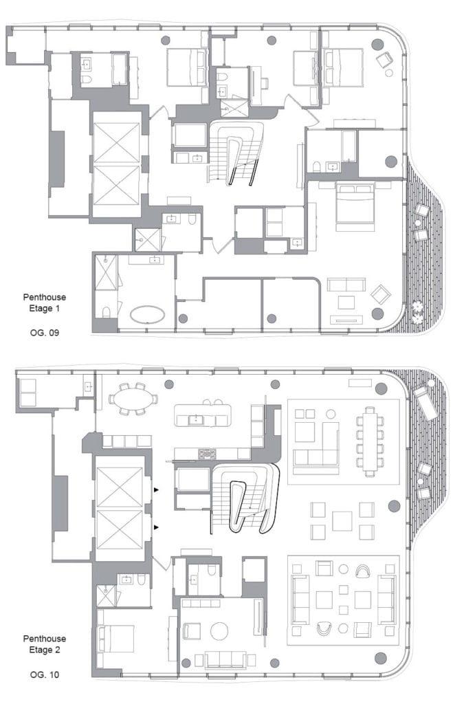 grundriss-pläne der luxus-maisonette im wohngebäude 520-West-28th