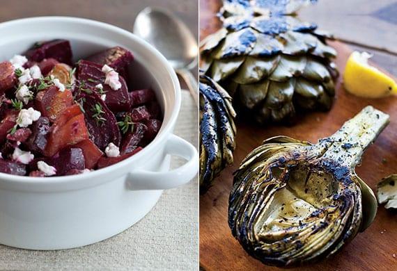 leckere rezeptideen für leichtes und gesundes essen_gebratene artischeken und geröstete rote bete mit ziegenkäse
