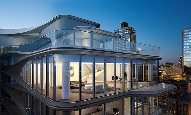 moderne maisonette mit rooftop terrasse, gerundete glasfassade und blick auf die stadt