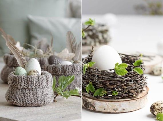 coole ostern ideen für natürliche dekoration mit ostereiern und federn in gestrickten osterkörbchen und mit diy osternest aus holzscheibe, nägeln und zweigen