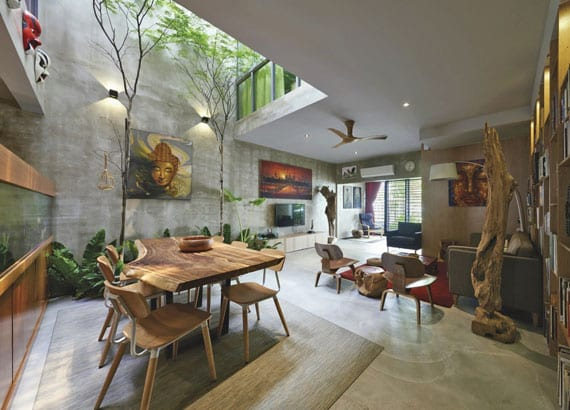 kreative wohnesszimmer gestaltung mit bäumen, betonwänden, massivholzmöbeln und natürliche beleuchtung durch kleinem innenhof mit oberlicht im raum