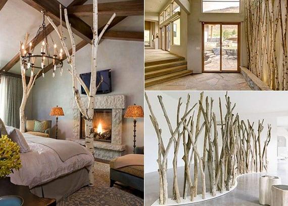 interessante dekoration mit birkenholz im schlafzimmer und eingangsbereich