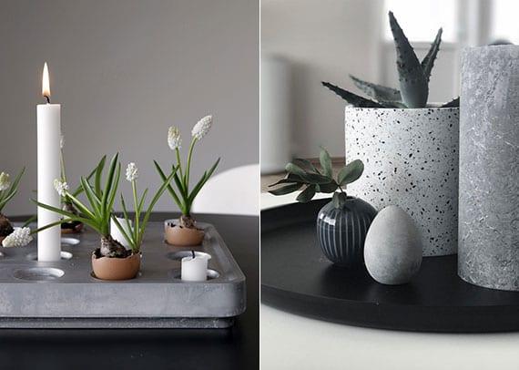 moderne ostern deko mit weißen kerzen und zwiebelblumen in eierschalen in diy betonschale_stilvolle osterdeko mit grauer kerze, beton-osterei und topfpflanze in runder schale schwarz