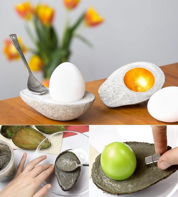 diy avocado-eihalter aus zement als originelle osterdeko und kreative geschenkidee zu ostern