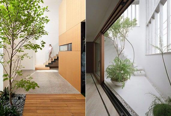beispiele für moderne häuser mit kleinem Innengarten im eingangsbereich oder auf die Terrasse