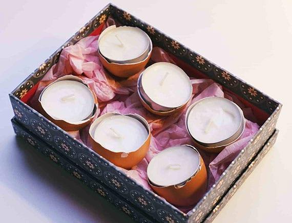 kreative osterideen für DIY osterdeko mit teelichtern in eierschalen als originelle geschenkidee zu ostern