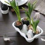 moderne ostern dekoration mit zwiebelblumen in schwarzen eierschalen und in keramik-eierhalter, japanischer teekessel und weißer milchkane
