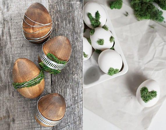 coole osterdeko idee mit ostereiern aus holz und weißen Eiern mit grünem moos